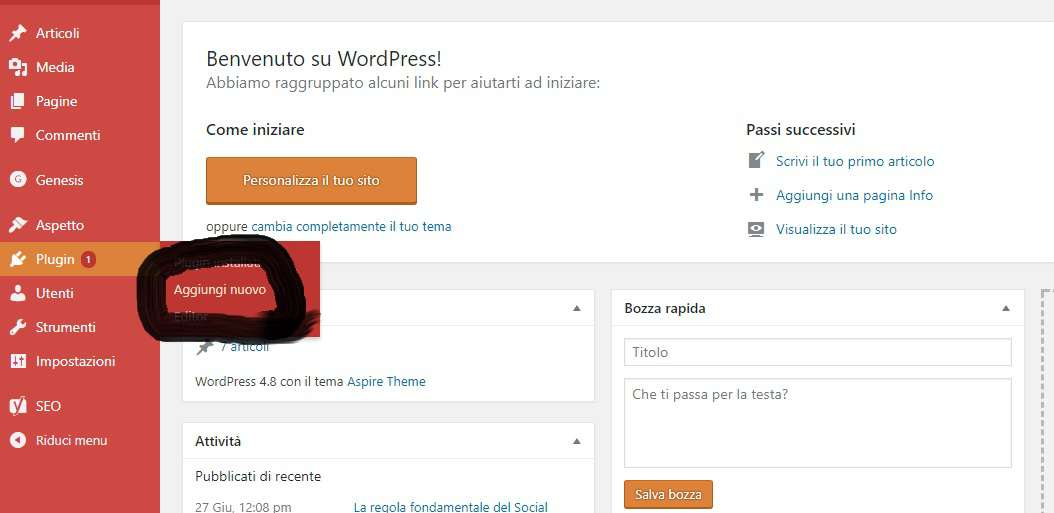 Installare plugin su wordpress